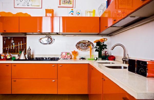Orange Cabinets Contemporary Kitchen