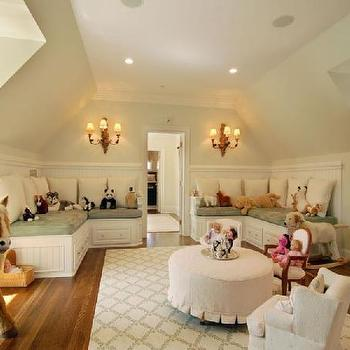 girl's rooms: attic playroom, attic play room, attic playroom ideas, built in bench, L shaped bench, ruffled ottoman, lattice rug,  Her bedroom