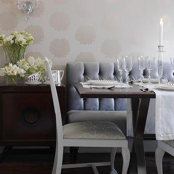 Sarah Richardson Design - dining rooms - dining bench, blue dining bench, velvet dining bench, tufted dining bench, blue velvet dining bench, blue tufted dining bench, blue velvet tufted dining bench, x base dining table, romo wallpaper, white dining chairs, Romo Wallpaper,
