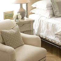 bedrooms - gray, beige, nail head trim, chair, silk, gray, throw pillows, scalloped, white, bedding, beige, linen, headboard, blue, gray, ceramic, gourd, lamp, gray painted, washed, nightstand, wood, parquet, floors, gray walls, paint color, bedroom,