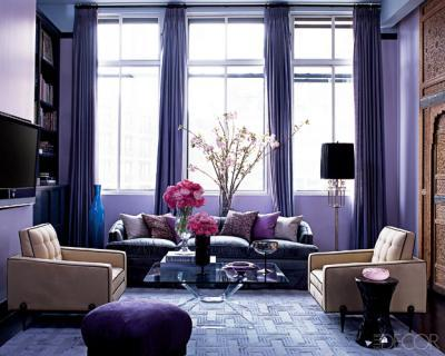 Purple Living Room  on Living Rooms   Windows Curtains Purple Lilac Rug Sofa Tan Pink Chairs