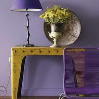 Skonahem - entrances/foyers - yellow console table, yellow table, purple walls, purple lamp shade, purple chair, purple and yellow foyer, metal console table,