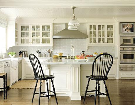 kitchens - Clemson Pendant black windsor chairs stool white cabinets carrara marble furniture legs island sink subway tile  House Beautful James
