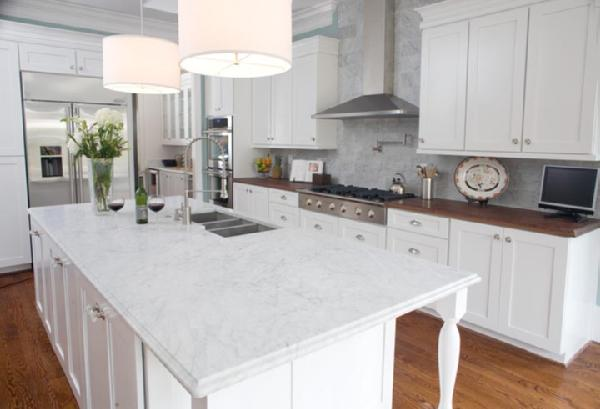 kitchens - pendant lights carrara marble white cabinets drum pendant lighting  beautiful white kitchen  white kitchen cabinets, white carrara