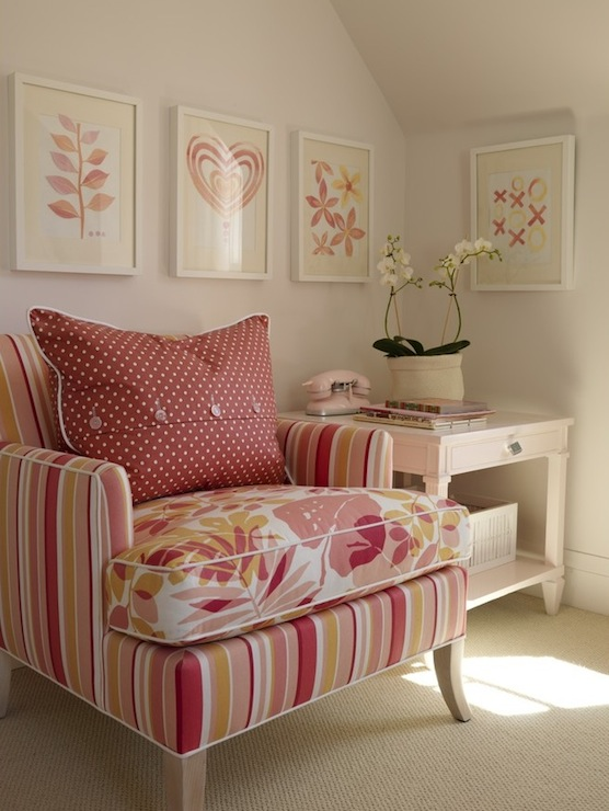 Sarah Richardson Design - bedrooms - pink and orange chair, striped chair,  Pink art in Ikea ribba frames, pink painted accent side table with