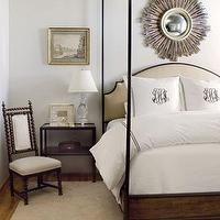James Michael Howard - bedrooms - ivory, brown, iron, canopy bed, camel, upholstered, leather, headboard, wood, tiered, nightstand, table chair, glass lamp, gilt, frame, art, sunburst, mirror, camel, wool, rug, monogram, pillows, white, hotel bedding, black, stitching, bedding, wood, chair,