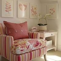 Sarah Richardson Design - bedrooms - pink, red, white, hearts, flowers, art, Ikea, ribba, frames, upholstered, striped, stripe, pink, yellow, white, red, accent, chair, white, accent table, red, white, polka dot, throw pillow, bedroom,