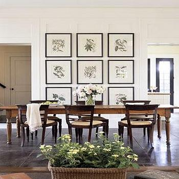 dining rooms: dining table, farmhouse dining table, botanical art gallery,  Chic, elegant dining room  Botanical photo gallery, farmhouse dining