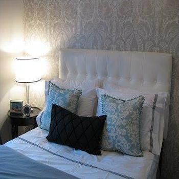 Gray Damask Wallpaper, Transitional, bedroom, Benjamin Moore barren plain, Wallpaper