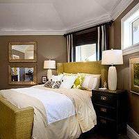 bedrooms - brown, beige, tan, black, white, yellow, gold, linen, headboard, bed, black, Asian, lacquer, chest, nightstand, white, ceramic, lamps, silk, drapes, beveled, mirrors, taupe gray walls, paint color, bedroom,