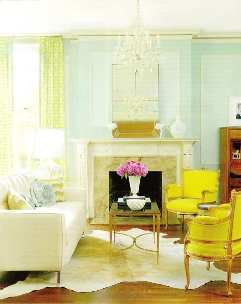 living rooms - French Square Leg Coffee Table beaux-arts white sofa white beige cowhide rug marble fireplace mirror crystal chandelier yellow green sheers drapes yellow green blue throw pillows turquoise blue yellow green living room
