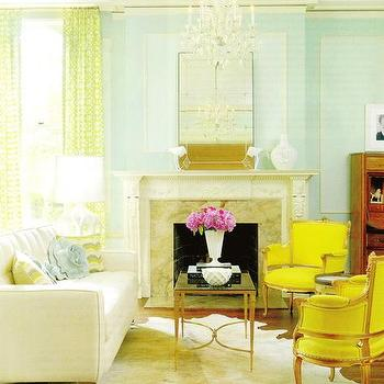 Amie Corley Interiors - living rooms - beaux-arts mansion, yellow chairs, yellow accent chairs, french coffee table, white cowhide rug, turquoise walls, French Square Leg Coffee Table,