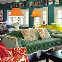 Amie Corley Interiors - living rooms - teal sofa, teal couch, teal velvet sofa, teal velvet couch, french settee, orange lamp shades, peacock blue walls, Bungalow 5 Jacqui Table,