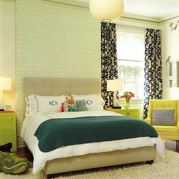 Amie Corley Interiors - boy's rooms - teal blanket, tufted headboard, beige tufted headboard, geometric wallpaper, green nightstands, jacqui nightstand, yellow chair, yellow tufted chair, monogrammed bedding, monogrammed pillow covers, black and white curtains, Jacqui Chest, Nelson Ball Pendant, Jonathan Adler Giraffe Lamp,