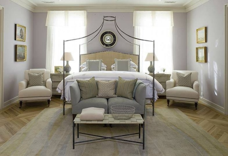 Suzie:  Thanks to Max &amp; Co!  purple lilac and gray bedroom colors. Lilac wall paint color. Iron ...