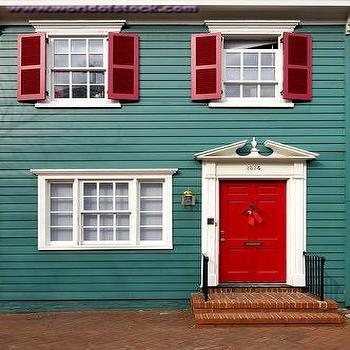 home exteriors - red doors, red shutters, red front door, teal house, teal home, teal home exterior,  House with Red Door  Gorgeous home exterior