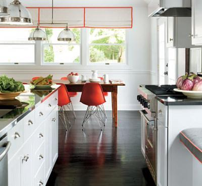 Red Molded Plastic Chairs Transitional kitchen