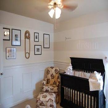 nurseries - gender neutral nursery, safety pin wall art, photo wall, glider, black crib, wall word art, striped nursery, striped nursery walls, nursery with stripes, nursery wainscoting, wainscoting in nursery, horizontal striped walls, horizontal striped nursery walls,
