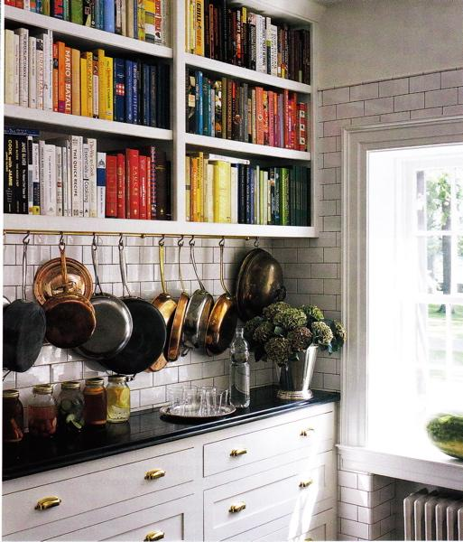 kitchens - cookbook shelves, pot rack, white cabinets with brass hardware, white kitchen cabinets with brass hardware,  Mark Badgley and James