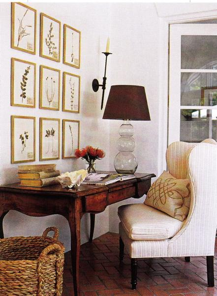 Suzie: comfy, cozy, chic office  white paint wall color. botanical photo gallery, antique wood ...