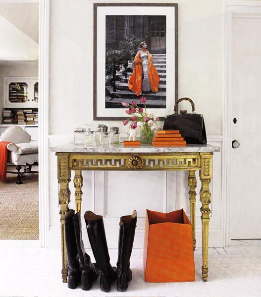 Suzie:  Windsor Smith. Chic orange entry entrance foyer!   Off white soft gray paint colors  and ...