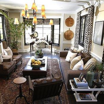 Brown Design - living rooms - leather chairs, trellsi curtains, trellis drapes, , Imperial Trellis Fabric, Ventena 3 Tier Chandelier,  Imperial