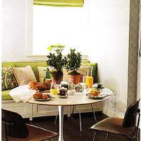 dining rooms - green, brown, gray, white, wallpaper, spring, green, silk, roman shade, built-in, bench, saarinen, table, brown, modern, chairs, espresso, wood floors, green, brown, cushions, pillows,