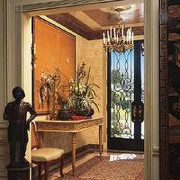 entrances/foyers - gold, wood, rug, chandler, statues,  Displaying effortless beauty and complexity in-entrance.