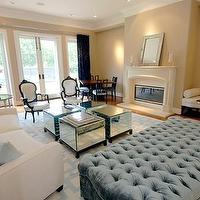 living rooms - mirrored, cube, tables, blue, tufted, ottoman, white, couch, blue, pillows, fireplace, french, chairs, black, velvet, sofas, mirrored cube tables, mirrored coffee tables, mirrored cocktail tables, blue ottoman, tufted ottoman, velvet ottoman, blue tufted ottoman, blue velvet ottoman, blue velvet tufted ottoman, blue velvet ottoman, velvet tufted ottoman,