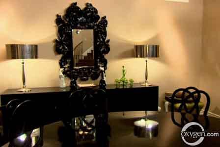 Black Baroque Mirror Contemporary Dining Room