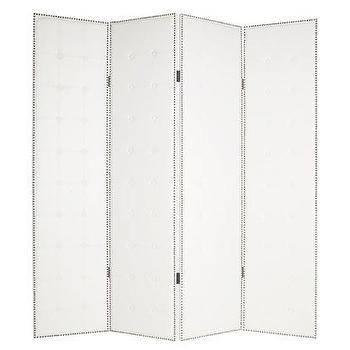 Decor/Accessories - Seven-Foot Tall Milano Privacy Screen w Four Folding White Panels - divider, screen, tufted, nailheads, white