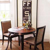 dining rooms - white, brown, black, round, clawfoot, claw foot, dining table, dining chairs, antique, subway sign, seagrass, rug, white, gray, roman linen, roller, shades, French doors, dining room,