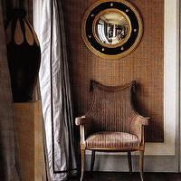 entrances/foyers - brown, velvet, accent, chair, tiled, floors, round, gold, blue, porthole, mirror, blue, silk, chocolate, brown, ribbon, border, white, flokati, rug, brown, beige, grasscloth, grass cloth, wallpaper,