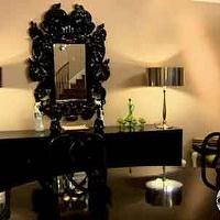 dining rooms - black, Baroque, mirror, lamps, black, table, chairs, Hollywood, Horchow,  Tori Spelling  glossy black baroque mirror, black buffet,