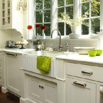 kitchens - farm sink, white kitchen, farmhouse kitchen, ivory cabinets, ivory kitchen cabinets, paneled dishwasher, concealed dishwasher,  Connecticut