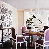 dining rooms - purple chairs, purple velvet chairs, purple dining chairs, purple velvet dining chairs, decorative wall plates,  Purple lavender