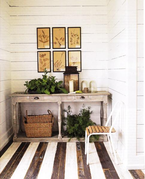 entrances/foyers - wood paneling, gray console table, grey console table, painted floors, painted wood floors, striped floors, striped wood floors, wall paneling, horizontal wall panels,