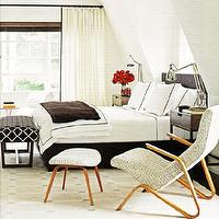 bedrooms - white, ivory, cream, brown, geometric, wood, bench, wood, headboard, bed, silver, pharmacy, table, lamps, modern, wood, brown, wool, throw blanket, hotel, bedding, stitching trim, nightstands, tables, modern, wool, upholstered, chair, ottoman, white, drapes, curtains, rug, bedroom,
