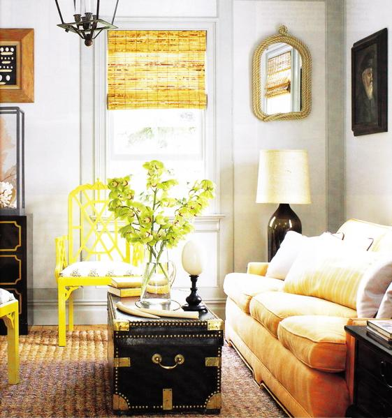 living rooms - bamboo roman shade rope mirror glass lamp sofa trunk coffee table end table accent table seagrass rug modern jonathan adler cane chairs antique chest brown black yellow gray gold yellow living room
