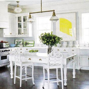 B Five Studio - kitchens - farmhouse table, white farmhouse table, farmhouse kitchen island, white kitchen,  Love, love the geometric back stools