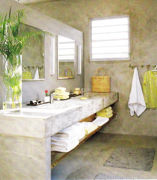 Bathroom stone concrete block double snks with square undermount sinks
