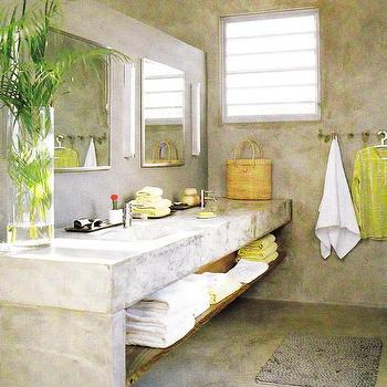 bathrooms - concrete washstand, concrete vanity, concrete bathroom vanity, concrete bathroom,  bathroom  Stone concrete block double snks with