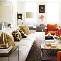 living rooms - white, modern, sofa, orange, club, chairs, brown, diamond, rug, rustic, wood, metal, coffee table, black, metal, accent, tables, black, brown, gold, geometric, throw pillows, blue, gray, tufted, bench, ottoman, ivory soft gray walls, paint colors, art, living room, Crate & Barrel Zak Table Lamp,