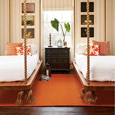 bedrooms - striped, wallpaper, roman, shade, black, apothecary chest, orange, pillows, accents, orange, rug,  guest room  orange jute rug, twin