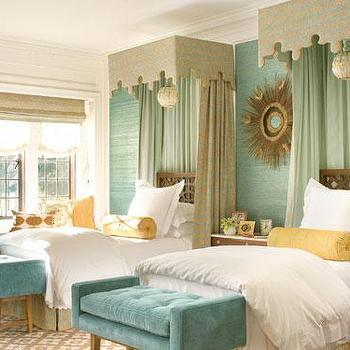 Elizabeth Dinkel Design - bedrooms - turquoise bench, turquoise velvet bench, turquoise tufted bench, turquoise blue bench, turquoise blue velvet bench, turquoise blue tufted bench, turquoise grasscloth, turquoise blue grasscloth, turquoise blue grasscloth, bed canopy, kids bed canopy, girls bed canopy, yellow bolster pillows,