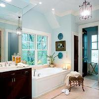 bathrooms - bamboo stool, faux bamboo stool,  blue sea  blue walls, paint, color, espresso vanity and faux bamboo stool.