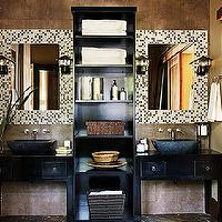 bathrooms - global, glass, tiles, mosaic, mirrors, black, bathroom, vanity, overmount, sink, tiled, walls, sconces,  global modern