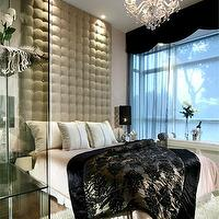 bedrooms - luxe, tall, tufted, headboard, crystal, chandelier, flokati, rug, tufted headboard, velvet headboard, velvet tufted headboard, floor to ceiling headboard, floor to ceiling velvet headboard, floor to ceiling tufted headboard,