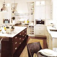 kitchens - brown, silver, gray, white, kitchen cabinets, modern, chrome, pulls, hardware, espresso, wood, stained, kitchen island, silver, yoke, island, pendant, lighting, beige, gold, rug, espresso, wood floors, kitchen, Yoke Pendant, Pot Filler,