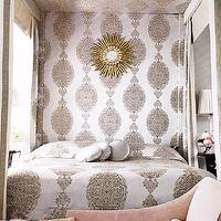 bedrooms - pink and gray bedroom, bed canopy, pink chair, gold sunburst mirror,  Chic gray and pink bedroom  pink & gray chic bedroom design